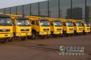 一汽解放青岛150辆自卸车出口玻利维亚