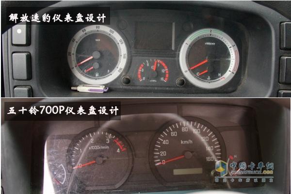 解放速豹和五十铃700p仪表盘都采用对称式设计,读数方便.