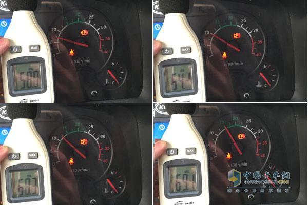 发动机转速分别在怠速、1000r/min、1250r/min、1500r/min时驾驶室内部噪音