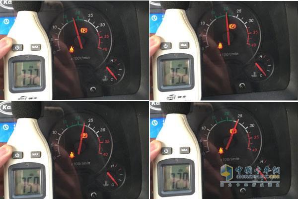 发动机转速分别在1750r/min、2000r/min、2250r/min、2500r/min时驾驶室内部噪音