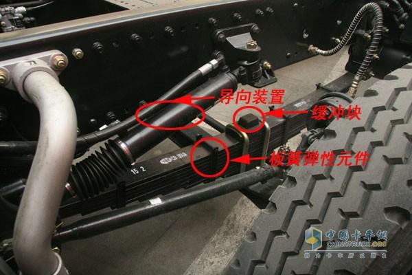 卡车悬架系统   减振器是具有减振作用,使振动迅速衰减,减轻振动使乘员感到不舒适和疲劳。弹性元件则是为了缓和冲击,使车架与车桥之间具有弹性联系。   导向装置由导向杆系组成,用来决定车轮相对于车架(或车身)的运动特性,并传递除了弹性元件传递的垂直力以外的各种力和力矩。   缓冲块用来减轻车轴对车架(或车身)的直接冲撞,防止弹性元件产生过大的变形。   装有横向稳定器的卡车,能减少转弯行驶时车身的侧倾角和横向角振动。