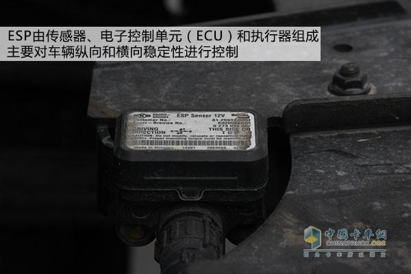ESP控制单元之一,一般布置于车架   该系统由传感器、电子控制单元(ECU)和执行器三大部分组成,通过电子控制单元监控汽车运行状态,对车辆的发动机及制动系统进行干预控制。典型的汽车电子稳定控制系统在传感器上主要包括轮速传感器、方向盘转角传感器、侧向加速度传感器、横摆角速度传感器、制动主缸压力传感器等,执行部分则包括传统制动系统(真空助力器、管路和制动器)、液压调节器等,电子控制单元与发动机管理系统联动,可对发动机动力输出进行干预和调整。 电子稳定控制系统的作用是什么?   这套系统主要对车辆纵向和横向