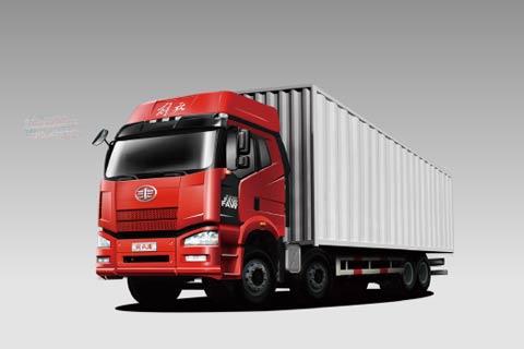 一汽解放J6P 350马力8×4厢式载货车(标载型)