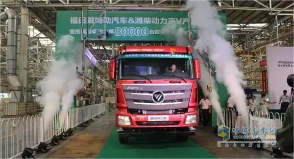 """福田戴姆勒汽车符合""""特京V""""排放标准的欧曼绿色渣土车下线-欧曼高清图片"""