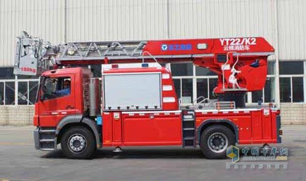国内首款紧奏云梯消防车徐工YT22K2正式下线