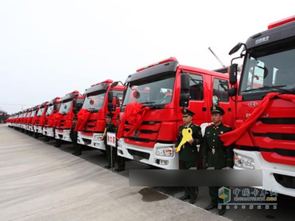 黑龙江消防总队新购置的重汽豪沃消防车