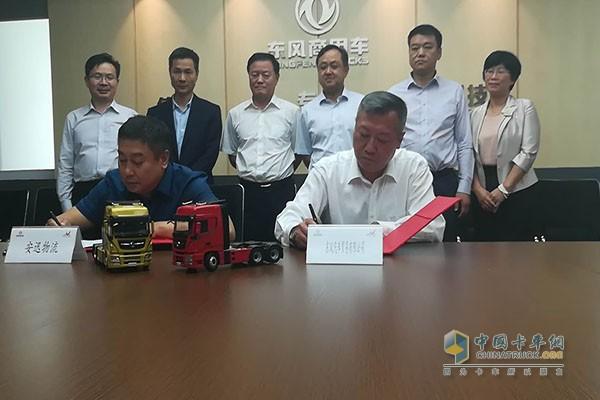 东风汽车贸易有限公司副总经理邱波与安迅物流负责人签约