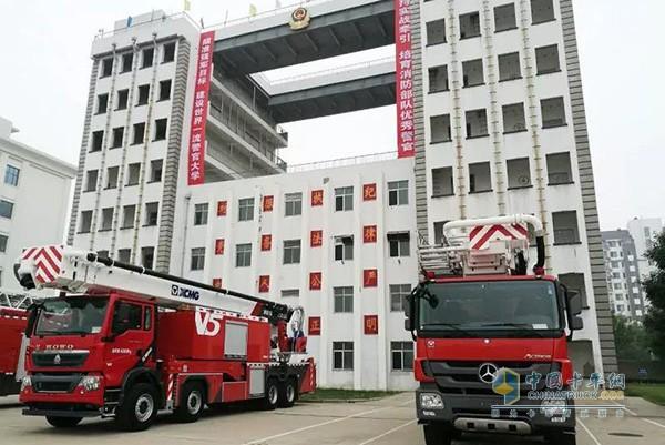 徐工V5系列消防车走进武警廊坊武警学院进行产品巡展