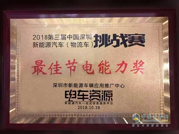 江铃特顺EV获得最佳节电能力奖