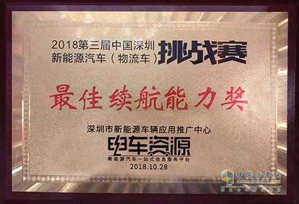 江铃特顺EV获得最佳续航能力奖