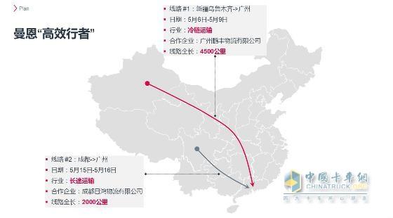 """曼恩商用车中国""""高效行者""""活动路线规划"""