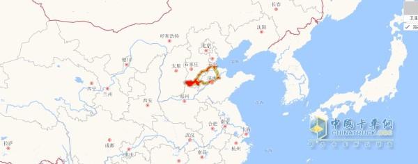红色区域为尤总车辆运输路线图