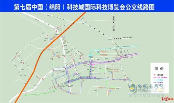 第七届中(绵阳)科技城国际科技博览会交通组织示意图