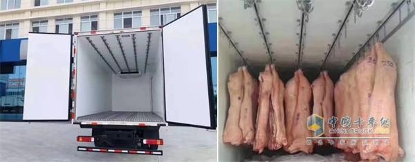 """欧马可为猪肉运输打造的""""冷链之星""""肉钩车产品"""