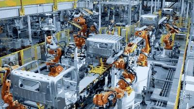 福田瑞沃程序化操控的进口ABB机器人焊接