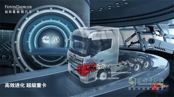 欧曼AMT自动挡重卡搭载康明斯X系列发动机和采埃孚自动挡变速箱组成的超级动力链