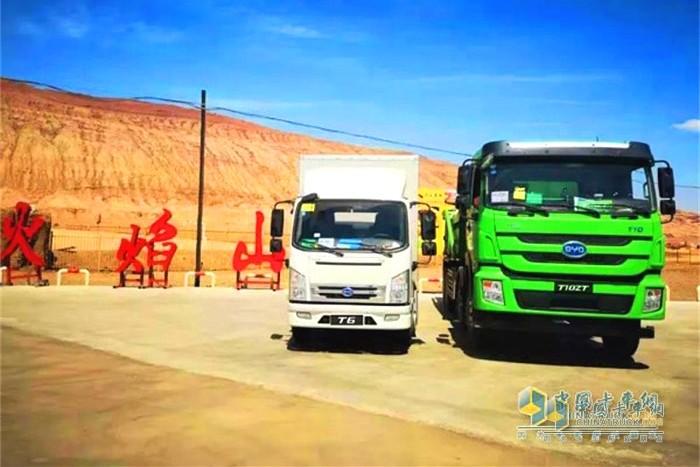 纯电动智能自卸车T10ZT在吐鲁番进行高温测试