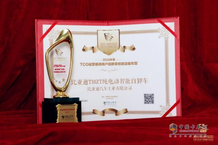 """比亚迪T10ZT纯电动自卸车获""""2020年度 TCO运营值得用户信赖零排放运输车型""""奖"""
