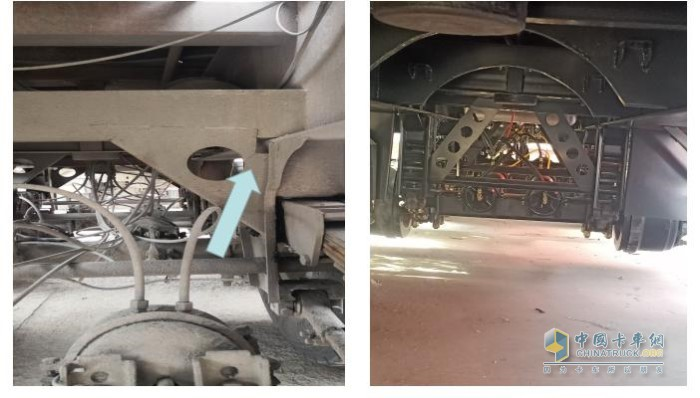 针对悬架斜撑开裂,灰熊自卸半挂把悬架斜撑板改为为直板样式,上部腹板有筋板支撑,增加悬架处刚性