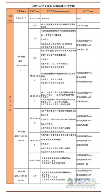 2020年北京国际车展总体日程安排