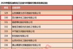 祝贺!四川美丰再次上榜中国石油和化工企业500强!