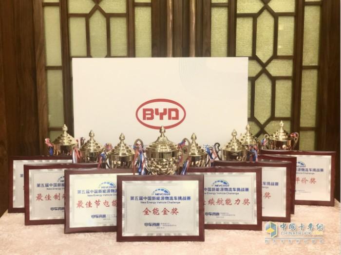 全新比亚迪纯电动物流车T5获得多项大奖