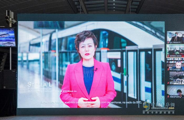 比亚迪执行副总裁、美洲汽车销售事业部总经理李柯发表视频致辞