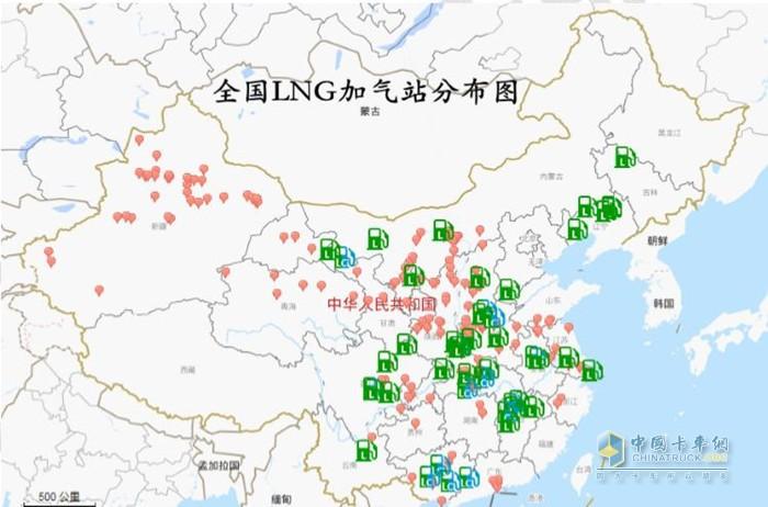 全国LNG加气站分布图