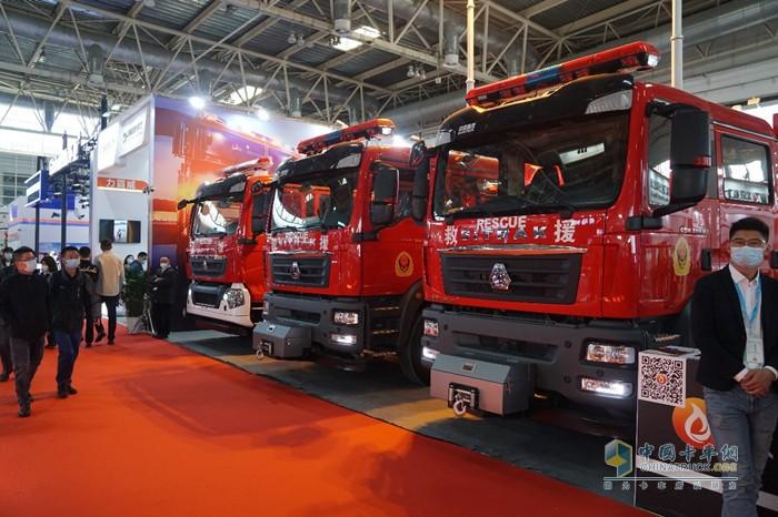 此次参展的消防装备中,由中国重汽底盘改装的专用车产品成为绝对主力