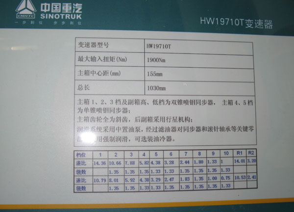 中国重汽HW19710T变速器