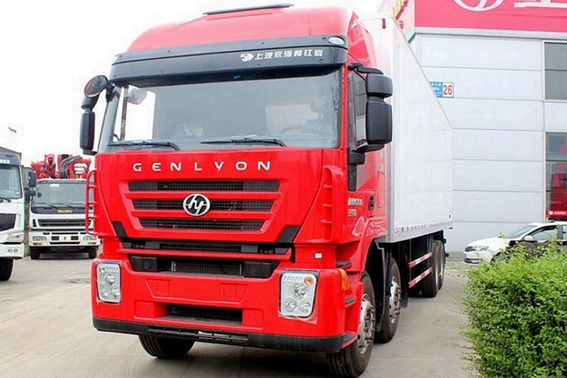 上汽红岩 杰狮M100重卡 350马力 8X4 9.4米 国四 厢式载货车(平顶)(CQ5315XXYHTG466)